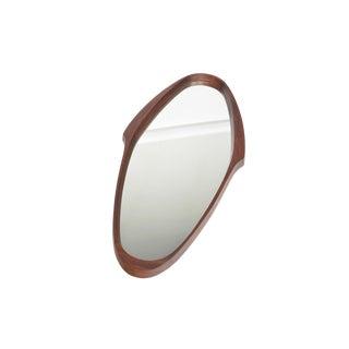 Italian Modern Walnut Oval Wall Mirror For Sale
