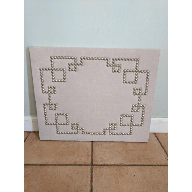 Greek key mix linen nail head cork board wall piece for Linen cork board