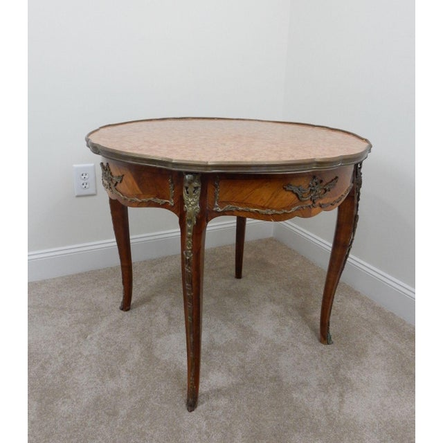 Wood Antique French Inlaid Marble Top Table For Sale - Image 7 of 11