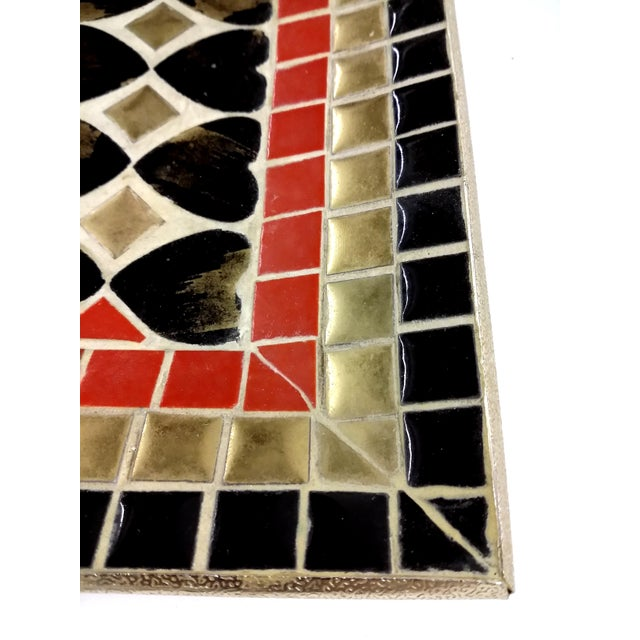 Art Deco Ceramic Heart Tile Tray - Image 3 of 8