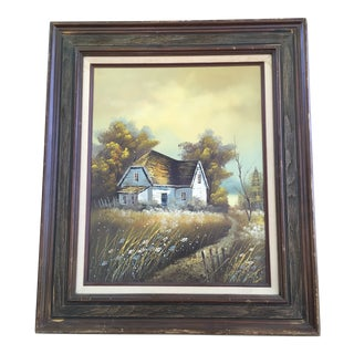"""1960s Vintage """"The Barn"""" Oil Painting For Sale"""