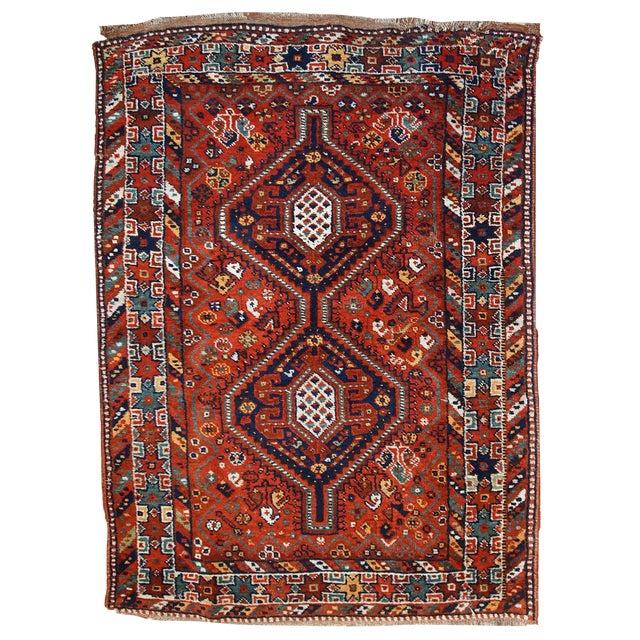 1920s Handmade Persian Gashkai Rug - 3.8' X 5.2' - Image 1 of 10