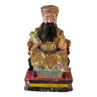 Antique 19th Century Qing Dynasty Chinese Polychrome and Gilded Gold Seated Emperor For Sale