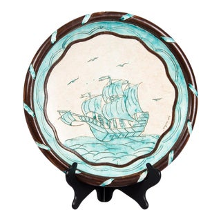 1940s French Terracotta Dish with Sailboat by Jerome Massier Vallauris For Sale
