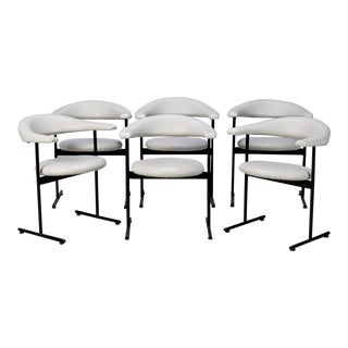 Set of 6 Mid-Century Streamlined Arm Chairs With Black Metal Frames