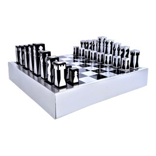 1960's Mid Century Modern Black and Silver Aluminum Chess Set Game Board and Pieces