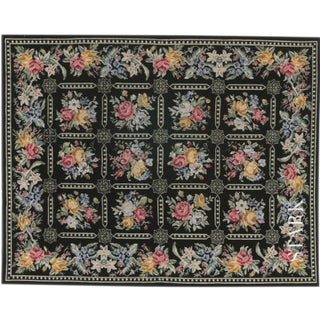 Stark Studio Rugs Traditional Portuguese Needlepoint Wool Rug - 6′6″ × 9′ For Sale