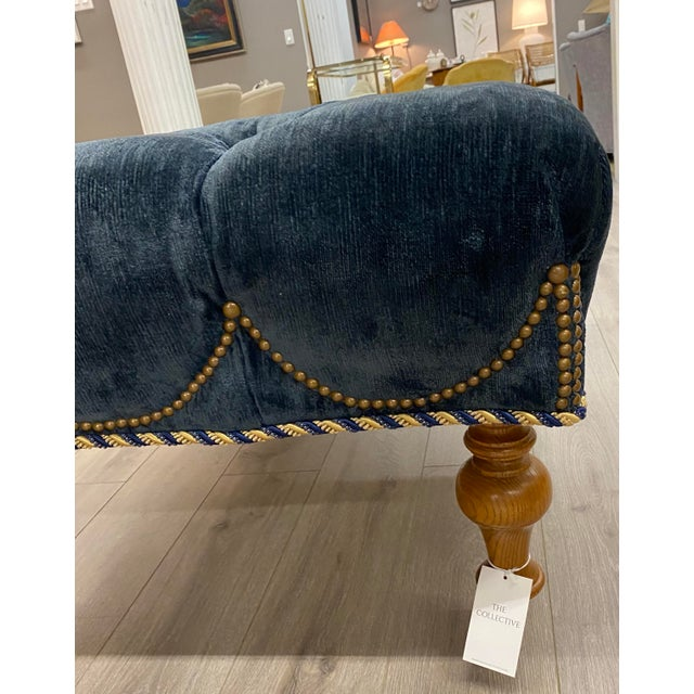 French Velvet Tufted Navy Blue Ottoman on Casters W/ Nailhead and Cording Detail For Sale - Image 3 of 8