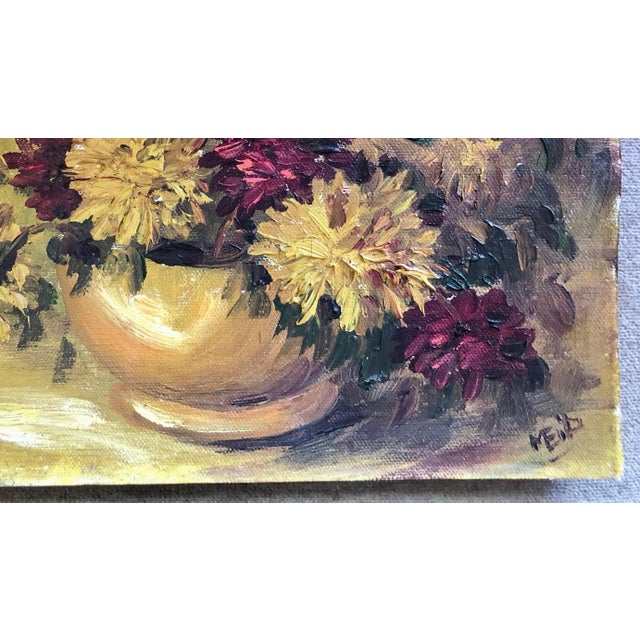 There's a perfect spot waiting for this elegant and fiery well-done floral still-life. Small in scale and feng-shui...