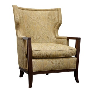 "Baker ""Manor"" Transitional Wing Chair in Paisley - Ba6348 1 For Sale"