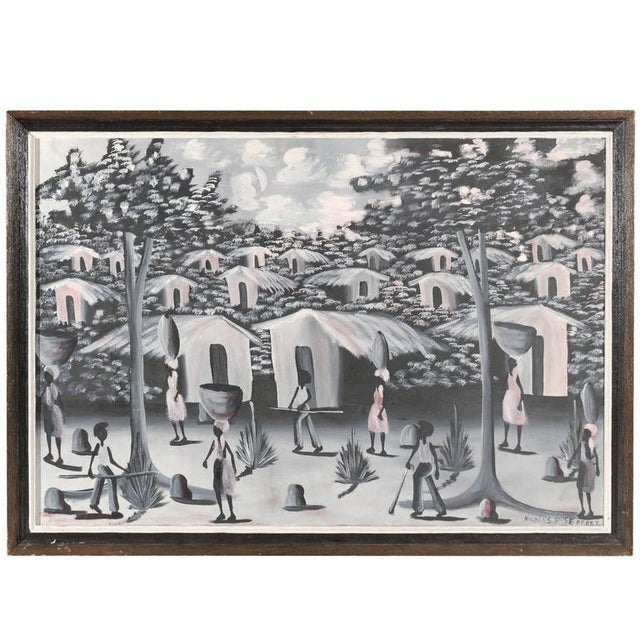 Gray Vintage Haitian Village Painting For Sale - Image 8 of 8