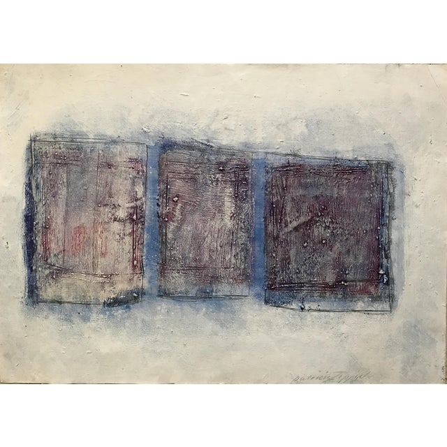 """1980s Abstract Bay Area Artist Painting """"3 Quadrilaterals"""" For Sale"""