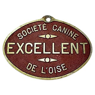 French Dog Show Prize Plaque For Sale