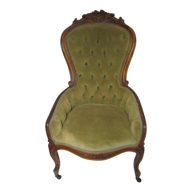 Victorian Chair With Green Velvet Upholstery For Sale