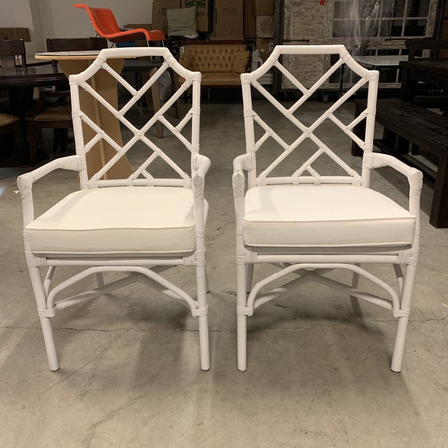 New New Pacific Direct Kara Rattan White Arm Chairs For Sale - Image 12 of 12