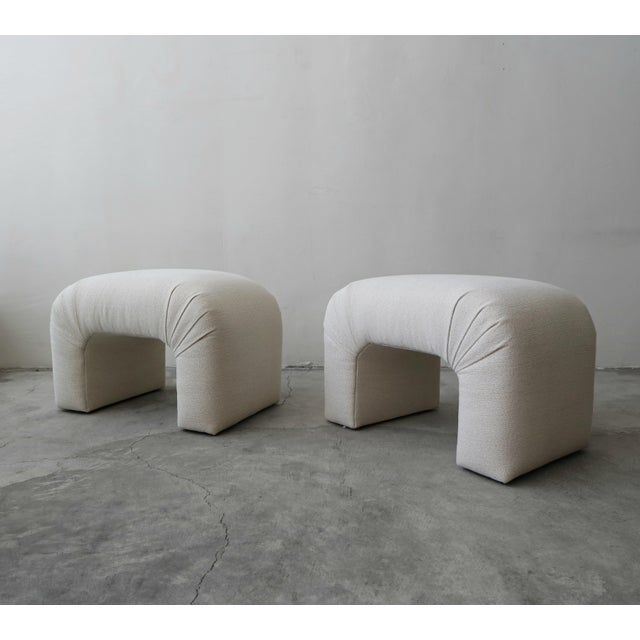 Minimalism Oversized Pair of Mid Century Waterfall Ottoman Stools For Sale - Image 3 of 7