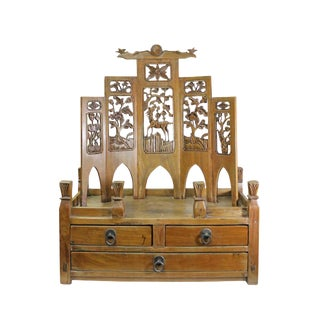Chinese Vintage Carving Display Shrine Chest Stand For Sale