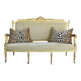 Early 1900s Italian Giltwood & Scalamandre Velvet Settee Sofa W/ Pair of Leopard Velvet Cushions/Pillows For Sale