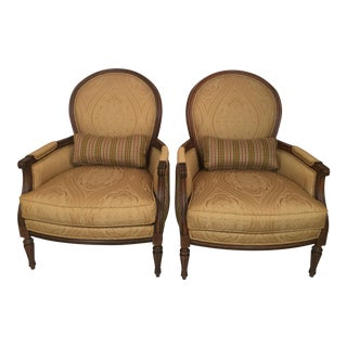 Ethan Allen Bergere Chairs - A Pair For Sale