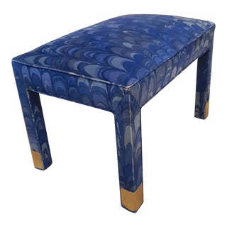 Jack Lenor Larsen Velvet Vanity Stool or Ottoman For Sale