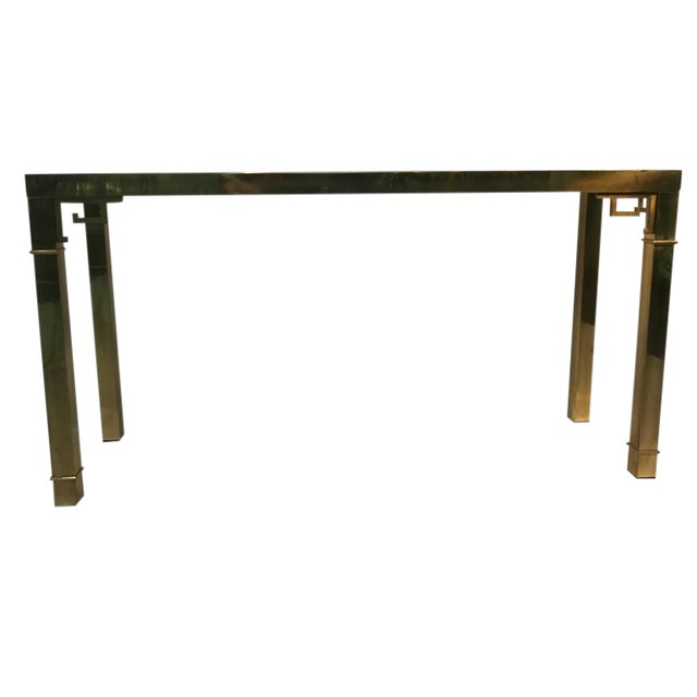 ELEGANT ITALIAN SOLID BRASS CONSOLE TABLE WITH GREEK KEY DESIGN For Sale