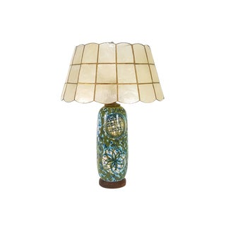 1950s Vintage Raymor Pottery Capiz Shell Shade Lamp For Sale