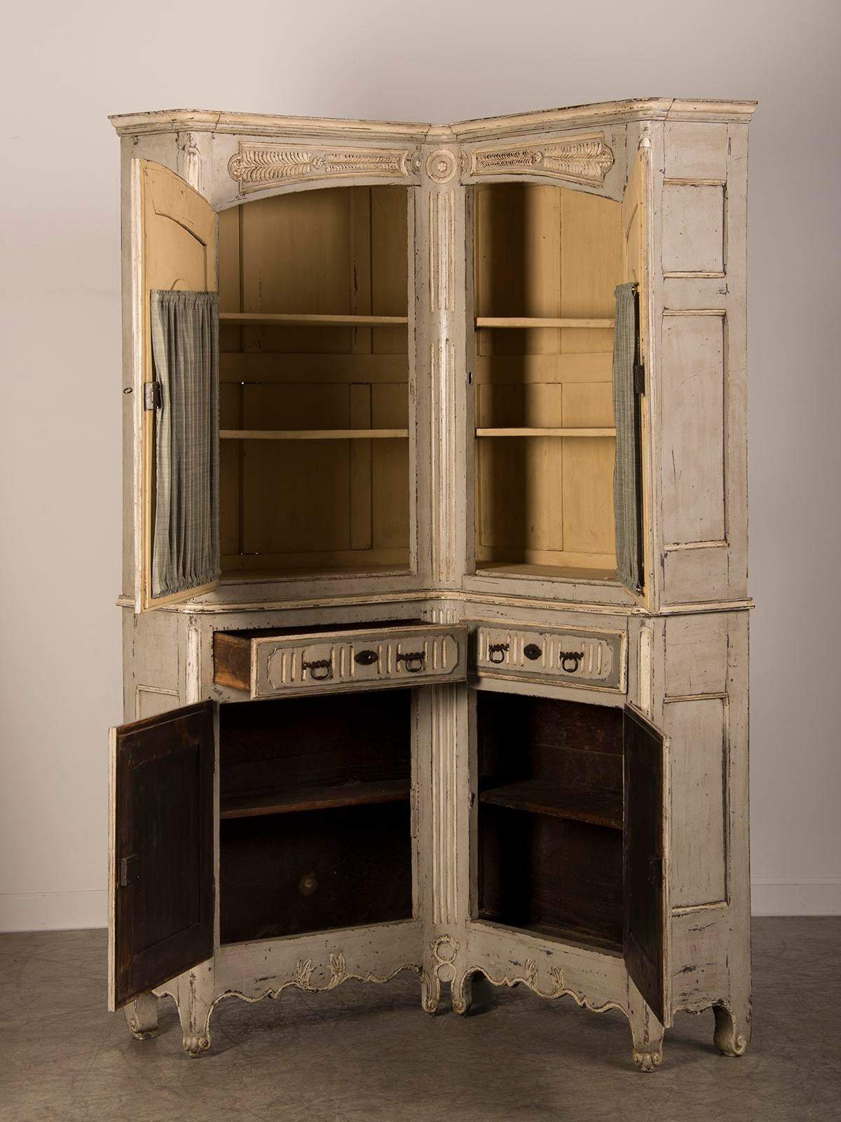 Antique French Régence Louis XV Period Painted Corner Cabinet Buffet A Deux  Corps Circa 1740