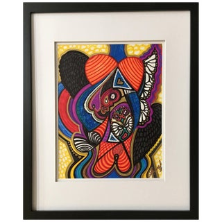 "Framed Abstract ""Addie's Song"" Mixed-Media on Paper by Laurel Rosenberg For Sale"