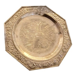 "Octagonal Silver Footed Chinese Plate Platter Dragons 11"" Diameter For Sale"