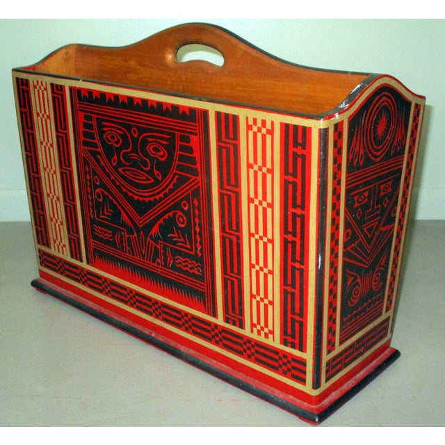 Mexican Lacquerware Magazine Stand With Aztec Designs For Sale In Tampa - Image 6 of 13
