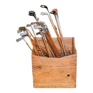 Collection of 40 Vintage Golf Clubs With Wooden Shaft