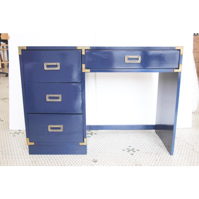 Navy Campaign-Style Desk - Image 7 of 7