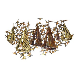 Sculptor's Guild Sailboat Brutalist Wall Hanging For Sale