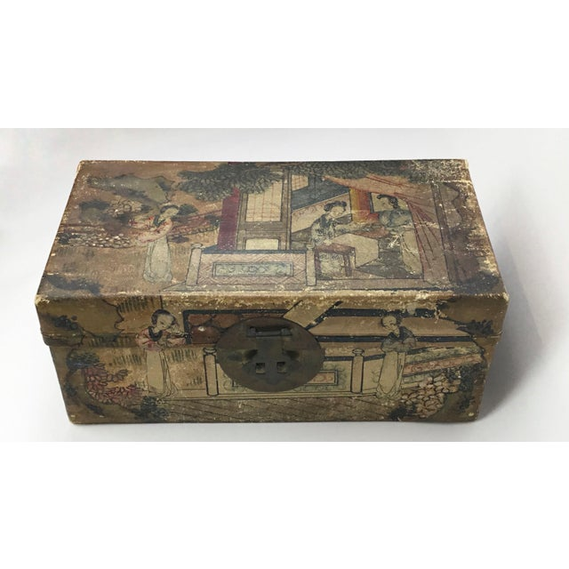 19th C. Asian Hand Painted Hide Box For Sale - Image 12 of 12