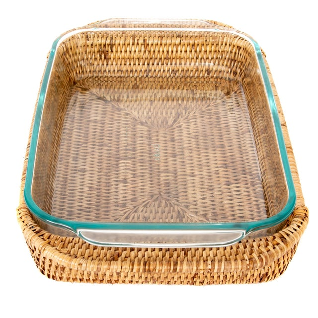 2010s Artifacts Rattan Rectangular Pyrex Holder For Sale - Image 5 of 6
