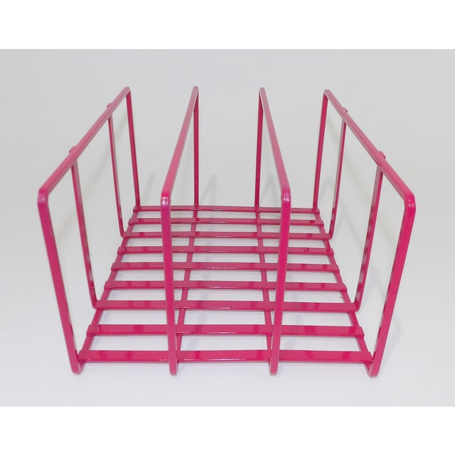 1980s 1980s Pink Metal Vinyl Record Holder Book Stand For Sale - Image 5 of 7