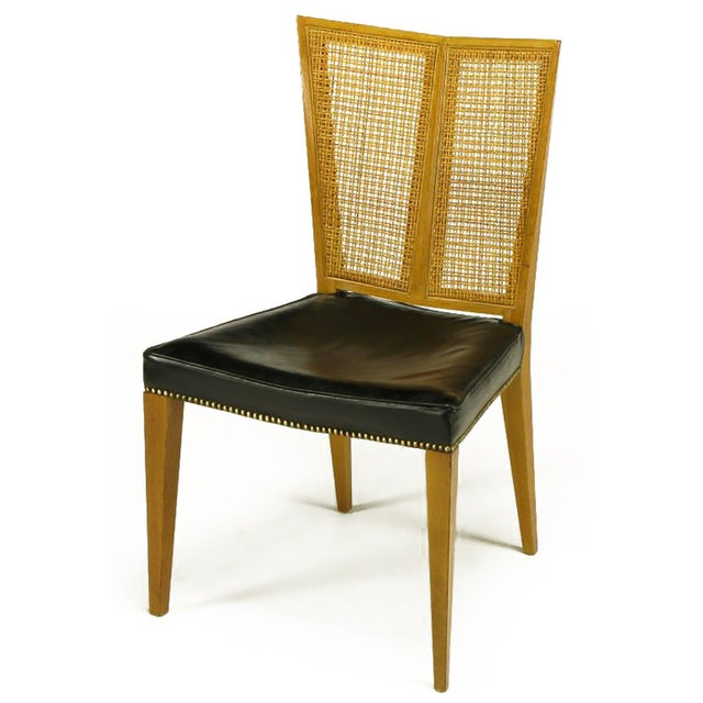 Mid-Century Modern Set of Six Michael Taylor for Baker Walnut and Leather Dining Chairs For Sale - Image 3 of 9