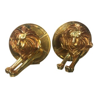 1970s Arthus Bertrand Gilded Bronze Lion and Film Reel Bookends For Sale
