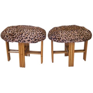 Cheetah Print Upholstered Oval Bamboo Stools - a Pair For Sale
