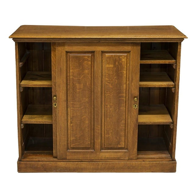 Traditional American Golden Oak Storage Cabinet For Sale - Image 3 of 5