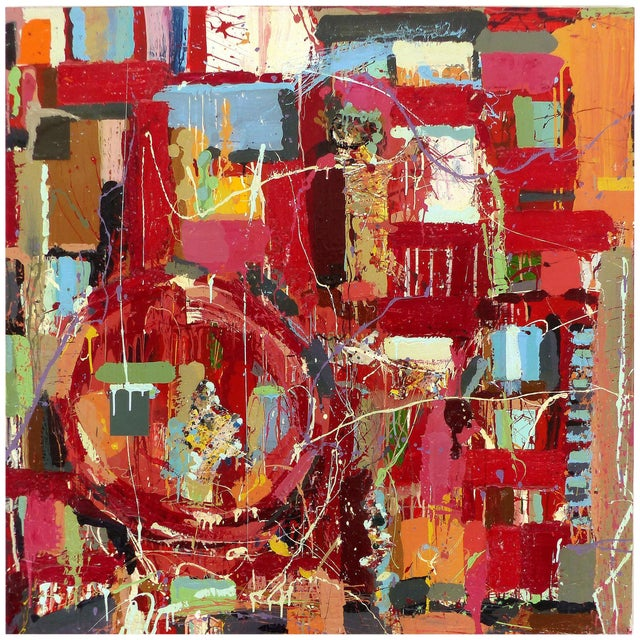 """William P. Montgomery Abstract Mixed Media Painting """"Rocket Science #1"""" For Sale"""