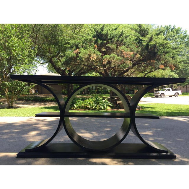 2010s Asian Modern Vanguard Furniture Black Entertainment Console Table For Sale - Image 5 of 8