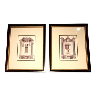 1990s Vintage Architectural Greek / Roman Schematic Prints After Giorgio Fossati – A Pair For Sale