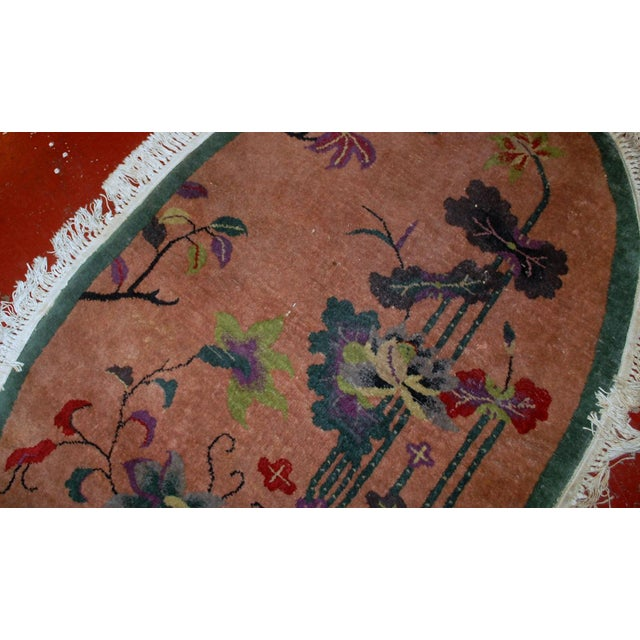 1920s Handmade Antique Oval Art Deco Chinese Rug - 3' X 4.10' - Image 2 of 7