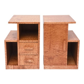 Pair of Burled Maple Nightstands, Probably Sir Edmond Spence For Sale