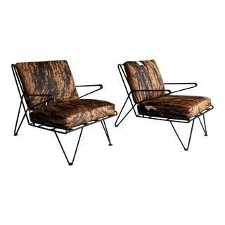Mid-Century Hair on Hide Wrought Iron Lounge Chairs- A Pair