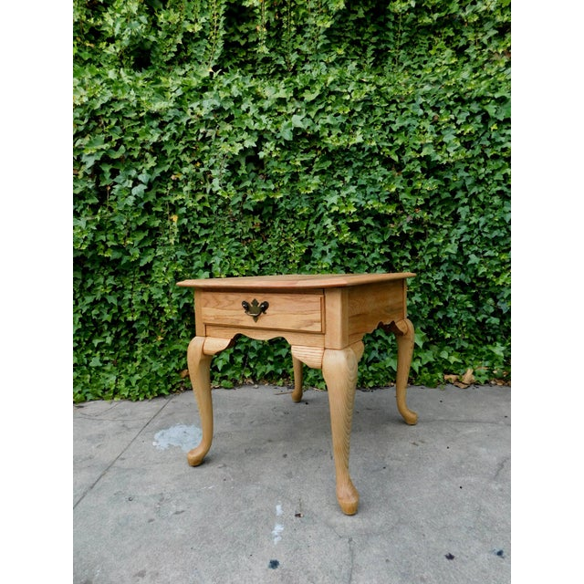 1980s Rustic White Oak Side Table For Sale - Image 5 of 6