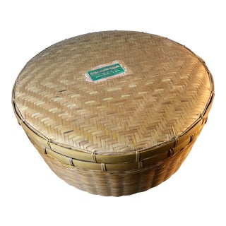 Mid 20th Century Hand WovenChinese Storage Basket With Lid and Label For Sale