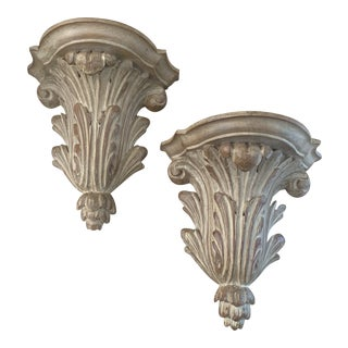 Italian Hard Carved Wood Wall Brackets- Pair For Sale
