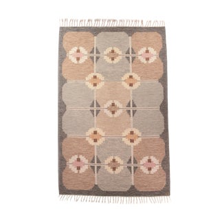 """1960s Vintage Swedish Mid Century Handwoven Flat Weave Rug-5'6'x7'10"""" For Sale"""